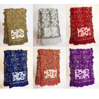 Wholesale top quality african fabrics - Top 3D French Net Lace FABRIC Embroidered Colorful African Lace Fabric High Quality For Party Dress TS-47