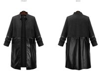 Wholesale Long Sleeve Splicing Cloth Coat of Long Trench Coat Dust Coat