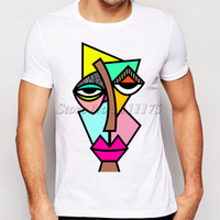 Wholesale Gold Paint Sale - Wholesale-2016 men's abstract drawing t-shirt funny painted tee shirts hot sale Hipster cool tops
