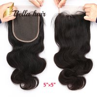 Wholesale Big Body Wave Human Hair - 10A 5*5 Big Lace Top Grade Closure Bellahair Best Quality Human Hair 12 14 16 Can be dyed to Any Other
