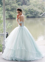 Wholesale Trendy Beach Wedding Dresses - 2016-2017 Beach Modest Trendy Vestidos Wedding Dresses Ball Gown With Pleats Wedding Light Sky Blue Party Gowns Tulle Formal Wedding Dres