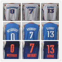Wholesale Oklahoma City - 17 18 New Men's Oklahoma City #13 Paul George 0 Russell Westbrook 7 Carmelo Anthony Home blue White Jersey Thunder stitching Jerseys
