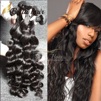Wholesale Deep Wave Human Hair 4pcs - Brazilian Hair Extensions Indian Hair Unprocessed Human Hair Bundles Dyeable Black Color Hair Weave 4pcs lot 7A Loose Deep Wave Bella Hair