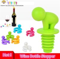 Wholesale Wine Markers - 7 pcs box Cartoon Creative Wine Bottle Stopper With Glass Cup Marker For Recognition Cup, Champagne Bottle Stopper 4042