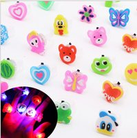 Wholesale Led Plant Glow Lights - LED Cartoon flash ring LED Light Finger Rings Party Favors Glow Rings Children'Day Christmas Free shipping