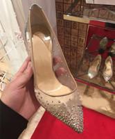 Wholesale Mesh Dress Rhinestones - 2017 new spring summer Elegant styles women shoes Rhinestone high heels crystals pointed toe mesh Pumps woman red sole wedding shoes