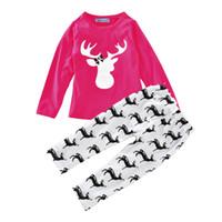 Wholesale Kids Free Shipping Pajama - Christmas Pajama Sets Cotton Kids Baby Boy Girl Xmas Reindeer Sleepwear Nightwear Pajamas Clothes Set free shipping