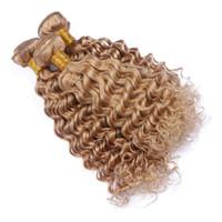 renk 27 kıvırcık toptan satış-Brezilyalı 9A İnsan Saç Derin Dalga Saç Demetleri Saf Renk Bal Sarışın # 27 Saç Örgüleri Için Derin Kıvırcık Örgü Saç Uzantıları kadın