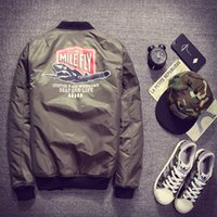 Wholesale American Pilots - Fall-2016 Ma1 Army Green Military motorcycle Flight Jacket Pilot Air Force Men American College Varsity Windbreaker Bomber Jacket