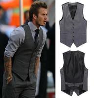 Wholesale Slim Fit Fashion Men Suit - New Leisure Mens Suit Vest Wedding Banquet Gentleman Suit Vests Fashion V Neck Slim Fit Golf Beckham Vest For Men