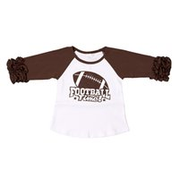 Wholesale Wholesale Football Clothes - Fashion Cotton Brown T-Shirts Ruffle Sleeve Baby Girls Clothing Raglan Icing Girls Round Neck Football Sport T-shirt