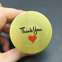 Wholesale Wedding Thank Stickers - 120pcs lot Round Transparent Thank you with Red Heart Sticker envelope wedding favors invitations seal stickers 30*30mm