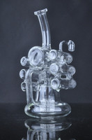Wholesale Glass Violins - Creative Unique liquid glass water pipes glass bubbler glass bongs Violin Recycler with tyre perc 14 mm female joint