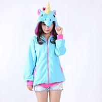 sudadera pikachu al por mayor-Al por mayor-Cosplay Unicorn Pikachu Stitch Sudadera con capucha Trajes de felpa Animal con capucha Chaqueta