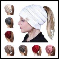 Wholesale Girls Ivory Headband - Fashion 8 Colors Ponytail CC Label Beanies Women Wide Crochet Headbands Girls Knitted Skull Caps Ladies Hats Ear Warmer
