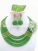 Wholesale Gold Layer Earrings - silver jewelry set green gold 2017 new model match aso ebi design dubai gold plated 6 layers handmade jewelry necklace set G01