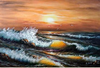 Wholesale Orange Abstract Canvas Art - Framed Seascape Surf Sunset Bright Orange Red Waves Beach Rock,Pure Hand Painted Seascape Art Oil Painting Canvas.Multi Sizes Available John