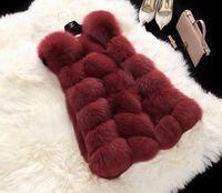 Wholesale Ladies Mink Vests - Winter Women Plus Size Faux Fur Coat Fashion Long Mink Vest Jackets Faux Fox Fur Vest Ladies Outwear Fur Coats for Women