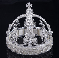 Wholesale Beauty Pageant Accessories - Vintage Wedding Bridal Birdcage Crown Tiara Silver Crystal Rhinestone Pageant Beauty Hair Accessories Headband Jewelry Headpieces Wholesale