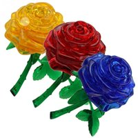 Wholesale Crystal Rose Toy - DIY Funny Rose 3D Crystal Puzzles Best toy for children birthday gift for sweetheart child girl