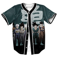 бейсбольные мячи мужские оптовых-Оптовая продажа-мужские рубашки DBZ герои Джерси футболка 3d уличная панк спортивные топы с однобортный летний топ тис бейсбольная рубашка