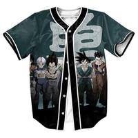 3d göğüsler toptan satış-Toptan-erkek gömlek DBZ Kahramanlar Jersey overshirt 3d Streetwear PUNK spor Tek Breasted yaz üst tee beyzbol gömlek ile tops