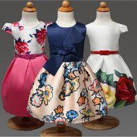 Wholesale Dresses Retro Print Girls - 2016 Summer Girls Retro Print Waist Bow Puff Princess Dress Children Dress Flowers Sweet Cotton Baby Girl Dresses
