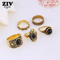 Atacado- 5PCS Bohemian Vintage Rings Set para Mulheres Antique Antique Gold / Silver Plated Ring Carved Gem Stone Fashion Jewelry