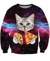 Wholesale Woman S Galaxy Crewneck - Cute Galaxy Taco Cat Crewneck Sweatshirt Winter Spring Womens T-shirt Men's Tops Tee Youth Girls Boys Hoodie Long Sleeve US Size XL XXL XXXL