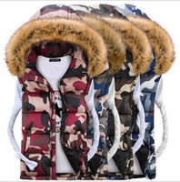 Wholesale Down Women Fur Vest - Nice Men and Women Couple Models Jacket Down Cotton Hooded Fur Collar Vest Fashion Camouflage Thick Cardigan Mens Vest Coats for Lovers