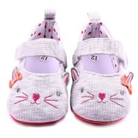 Wholesale Cartoon Shoes For Toddlers - 2016 Toddler Casual Shoes for Girls Cute Cat Design Lace Band cartoon print on Soft Sole Polka Dot Linning Infant Walking Shoes