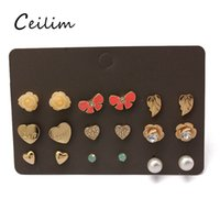 Wholesale Ear Rings Love - 9 pair set newest korean cute fashion crown stud earrings for young girl flower cross love leaf butterfly stud ear rings