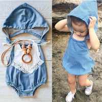 Wholesale Christmas Bloomers Wholesale - 2016 INS baby girl infant toddler Romper Denim With Hat Romper diaper covers bloomers Ruffles headwrap cotton Free Shipping