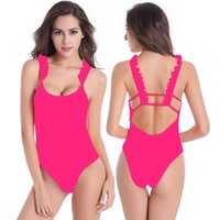 Wholesale One Shoulder Bathing Suits - Cute One Piece Bathing Suits Plus Size Swimwear Ruffles Double shoulders Back Cross Straps Sexy Padded Elegant Ladies Swimwear For Women