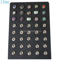 Wholesale Displays For Rings - High quality Black PU leather display for snaps buttons with buttons fit 12mm snaps perfect jewelry display stand holder