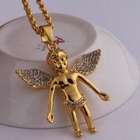 hip hop mujer al por mayor-Cadena de oro para hombres bling bling hip hop joyería Micro Angel Piece collar querubín colgante 24K oro real cadena collier femme