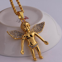 Wholesale Real Gold Plated 24k Chain - gold chain for men bling bling hip hop jewelry Micro Angel Piece Necklace cherub pendant colar 24K real gold chain collier femme