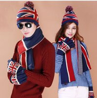 Wholesale Knitted Flag Scarf - 1 set Free Shipping Winter Hat Men Women's Knitted Hat Set Flag Printed Christmas gift Gloves Scarf + Hat set