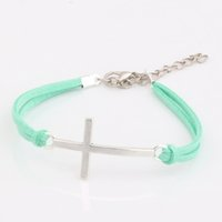 Wholesale String Cross Bracelets - Hot ! 100 pcs New men and women fashions Light Green Velvet with Antique silver Alloy Cross Charm Adjustable String Bracelet