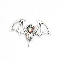 Wholesale bat pendants - 20pcs Antique Silver Plated Flying Bat Charms Pendants for Bracelet Jewelry Making DIY Necklace Craft 33x23mm