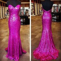 Wholesale Hot Photos Nude - Stunning Sequins Mermaid Evening Dresses 2016 Hot Sale Sweetheart Sweep Train Trumpet Prom Party Gowns Cheap Sale