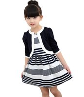 Wholesale Girls Stripe Long Dress - Children 's new spring and autumn cotton stripes round neck suit thin section long - sleeved jacket girl dress baby girls dress