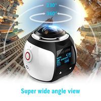 hd 3d mini kamera toptan satış-Yüksek kaliteli V1 360 derece panoramik spor kamera mini 3D wifi spor DV 4 K full HD 30 m su geçirmez açık eylem video kameralar