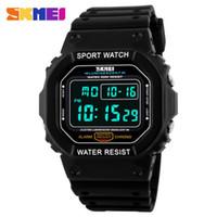 Wholesale Skmei Waterproof - SKMEI Men's Sport Quartz Square Military Waterproof Day & Date LED Digital Watch