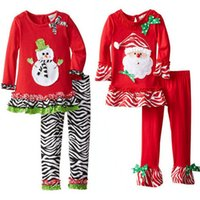 Wholesale Girls Clothes Wholesale China - My First Christmas Outfits For Baby Girl Set Clothing China Fashion Kid 1st Birthday Dresses+Legging 2pc Suit Boutique Clothes