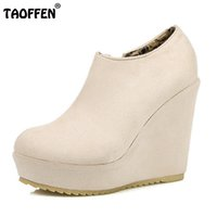Venda quente Tamanho 32-43 Lady High Wedges Sapatos Mulher Plataforma Zipper Round Toe Solid Color Wedges Pumps Sexy Party Club Lady Footwear