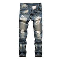 kot pantolon toptan satış-Moda Yeni Erkekler Jeans Erkek Sıkıntılı Ripped Jeans Modacı Düz Biker Motosiklet Jeans Nedensel Kot Pantolon Streetwear Stil Soğuk