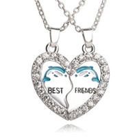 Wholesale Embellished Necklaces - Best Friends Necklace Set Silver Plated Dolphin Rhinestone Embellished Necklaces Gift Idea Unique Jewelry Chokers Necklaces