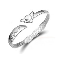 Wholesale Animals Model Set - 925 Sterling Silver Fox Bangle Female Models Silver plated Jewelry Animal Cuff Bracelet 925 Sterling Silver Bangles for women