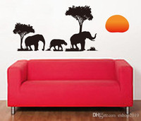 Wholesale Room Murals - New Arrival PVC Removable Elephant Tree 70x50cm DIY Decals Mural Wallpaper wall sticker Living Bed Room Background Decoration